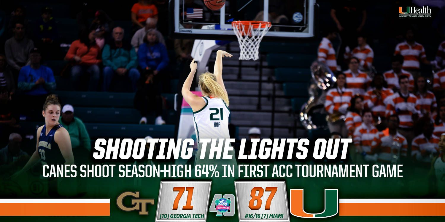 @CanesWBB Tops GT, 87-71, to Open ACC Tournament