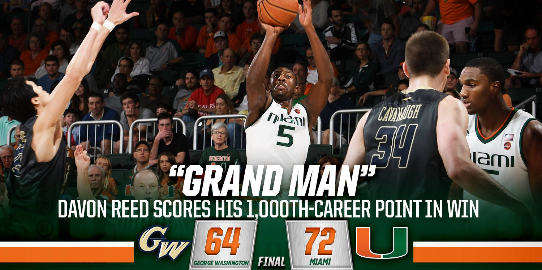 Reed leads Miami past George Washington 72-64