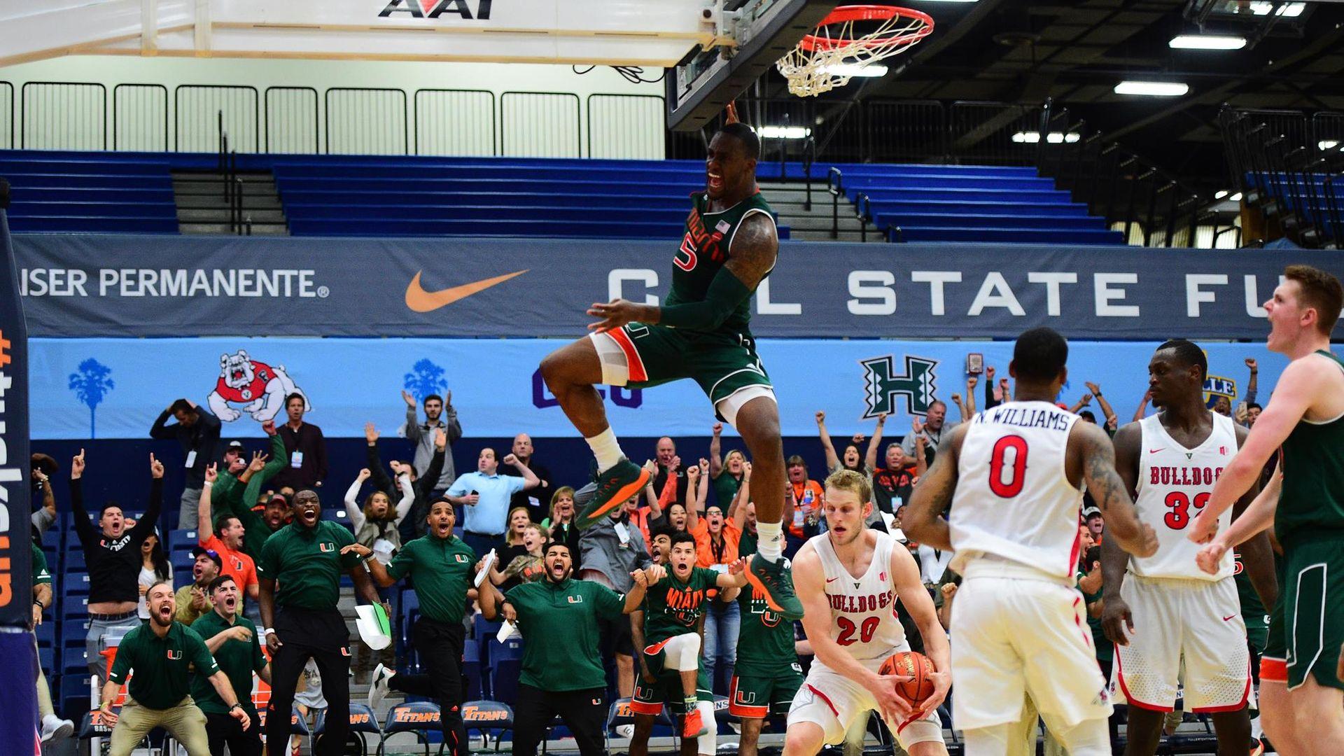 Johnson's Slam Propels Miami Past Fresno State