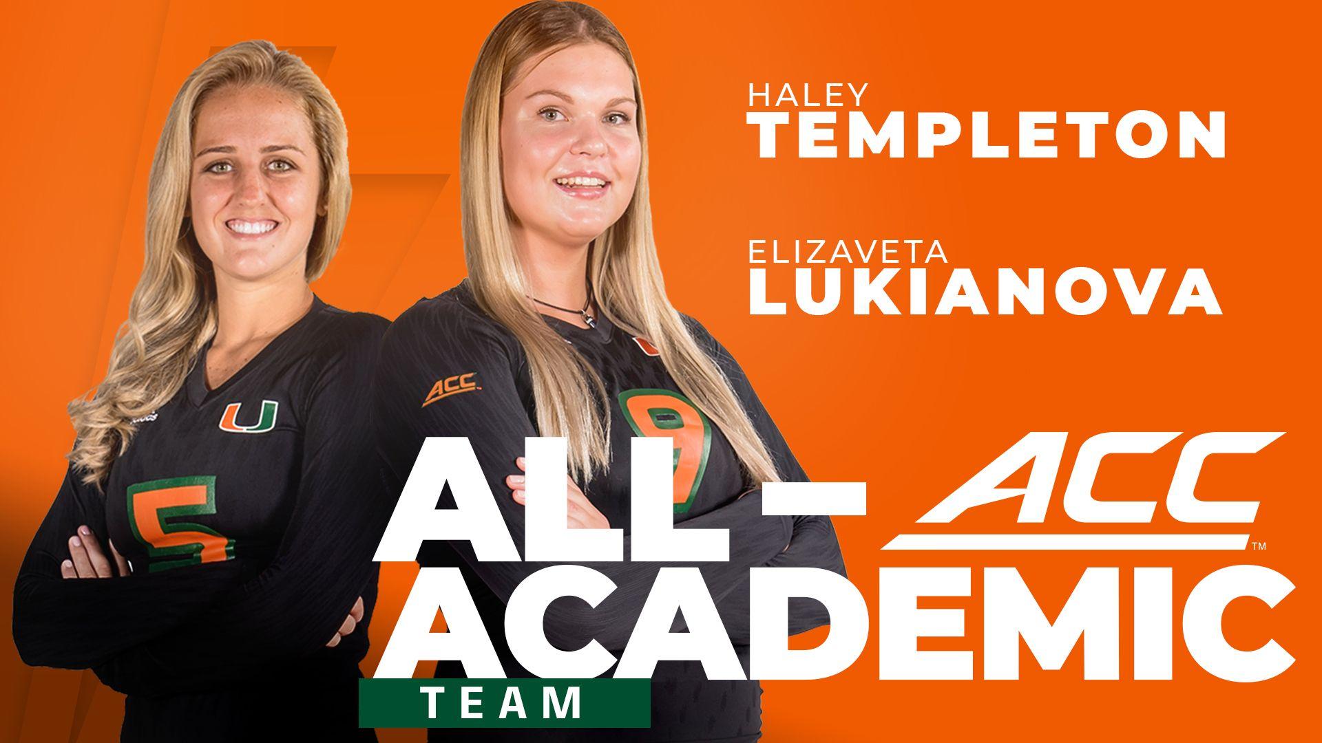 Templeton and Lukianova Named to VB All-ACC Academic Team