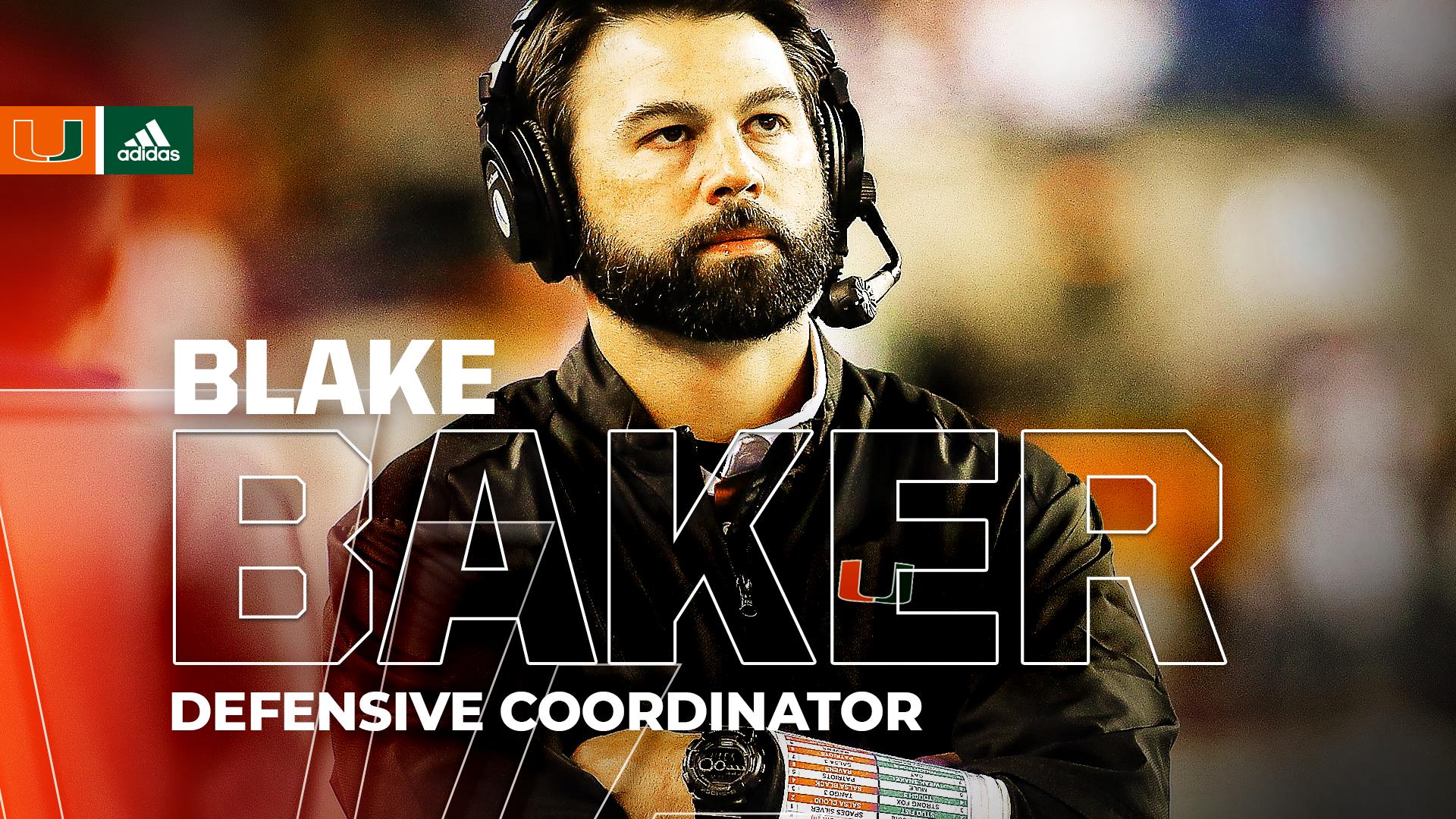Hurricanes Hire Baker as Defensive Coordinator; Finalize Defensive Staff