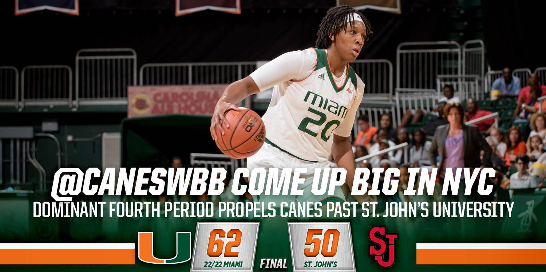 @CanesWBB Posts 62-50 Road Win at St. John's