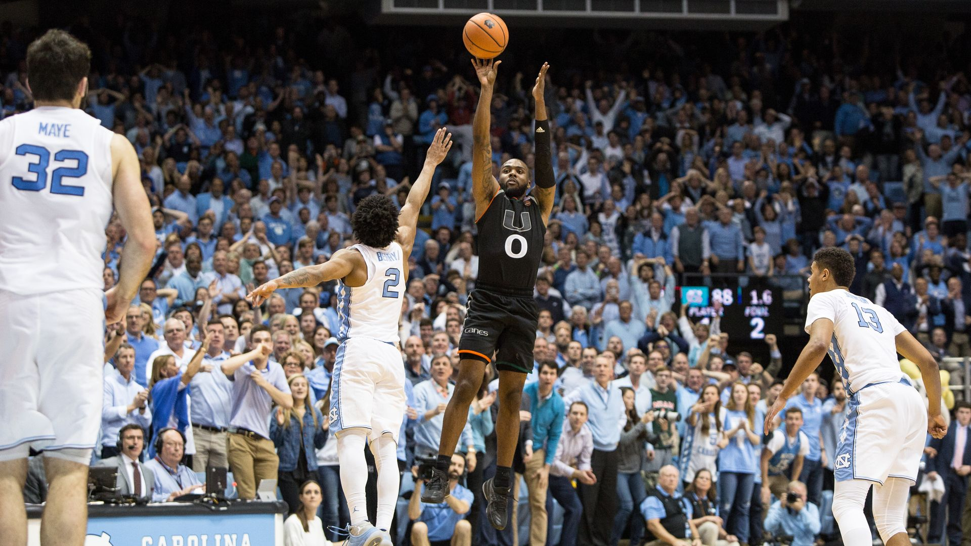 Newton's Buzzer-Beater Propels UM to Win at No. 9 UNC