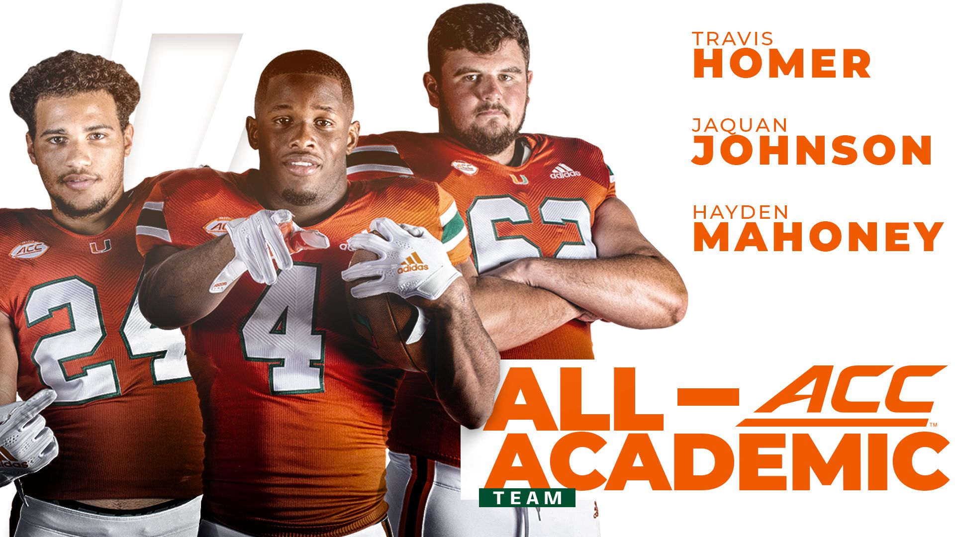 Three Hurricanes Named to All-ACC Academic Team