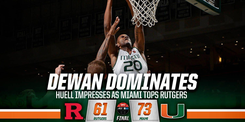Huell Impresses as Miami Tops Rutgers 73-61