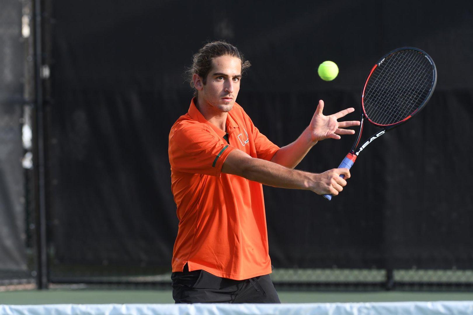 Miami Men's Tennis Falls 5-2 at No. 14 Mississippi State