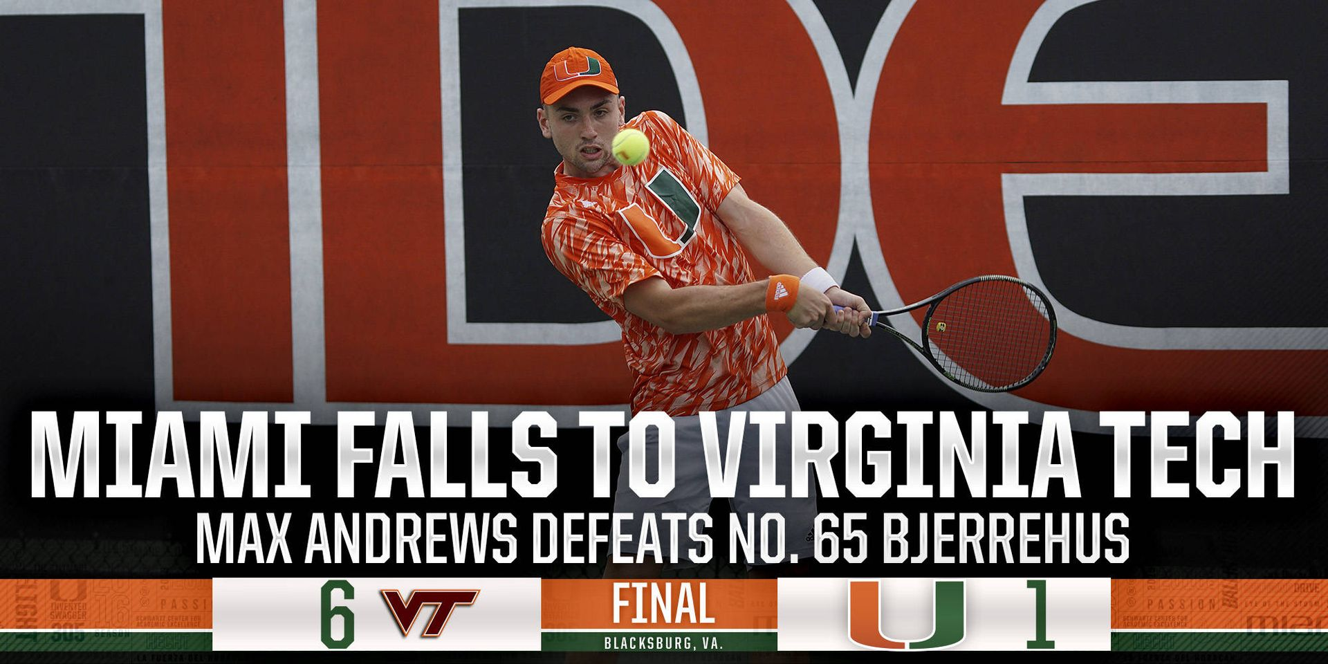@CanesMensTennis Falls to No. 40 Virginia Tech