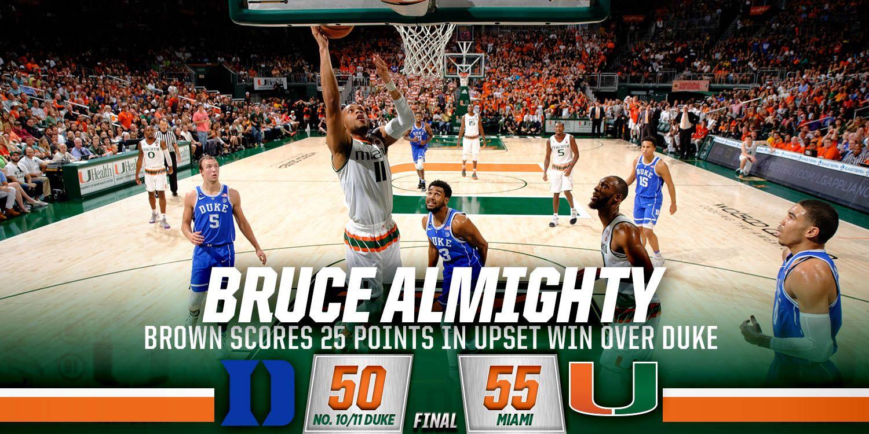 Miami Takes Down Duke on Senior Day, 55-50