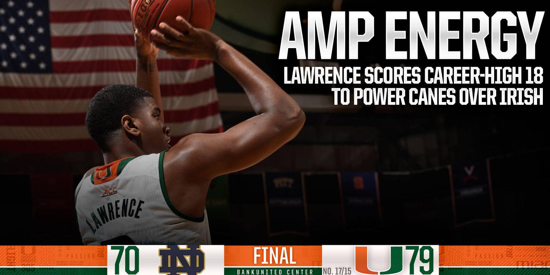 Amp Energy: Lawence Powers Canes to 79-70 Win