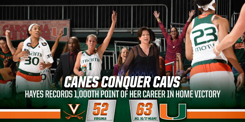 Hayes Reaches 1,000 in @CanesWBB's Win vs. UVA