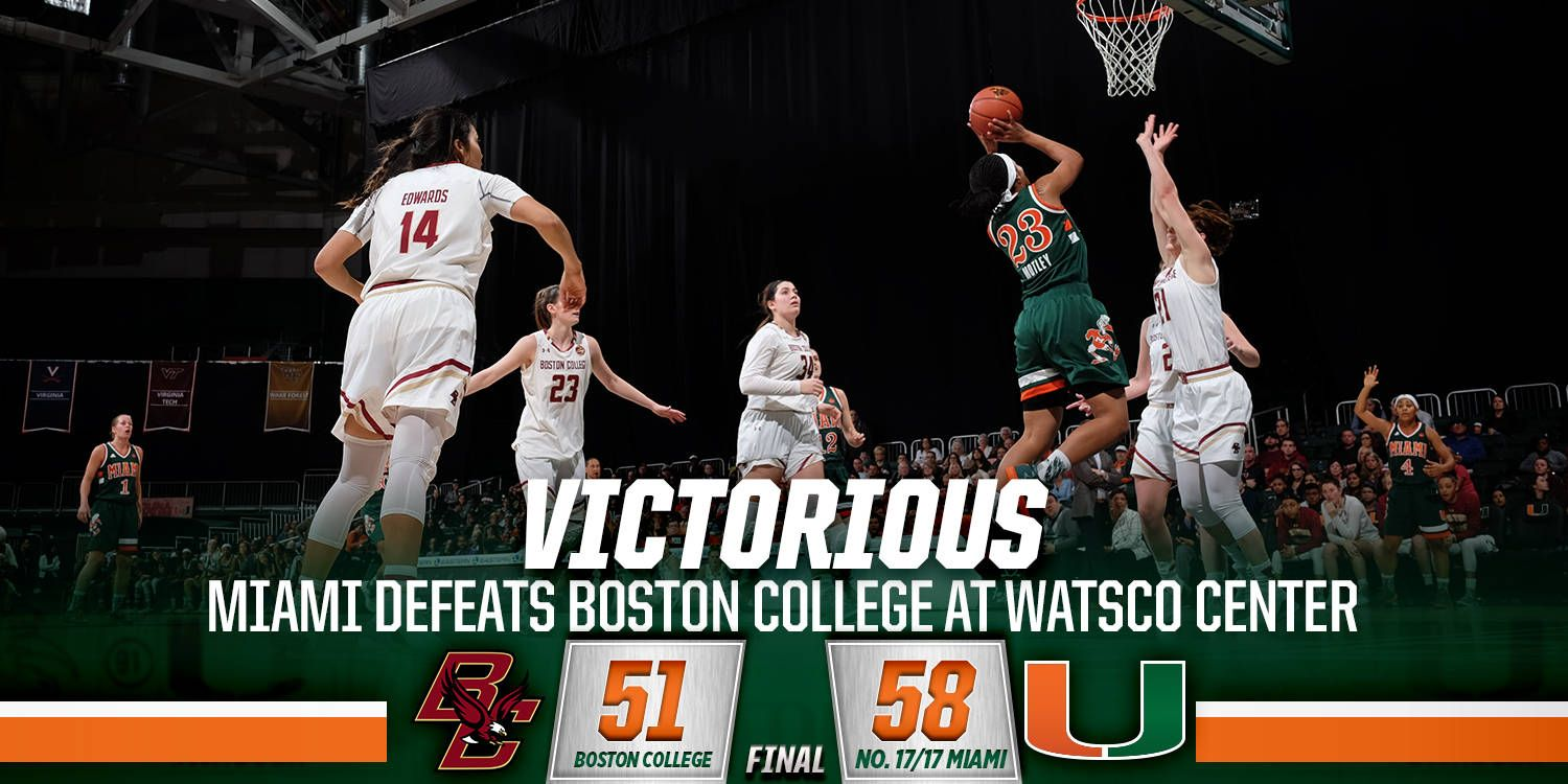 @CanesWBB Logs 19 Steals in 58-51 Win over BC