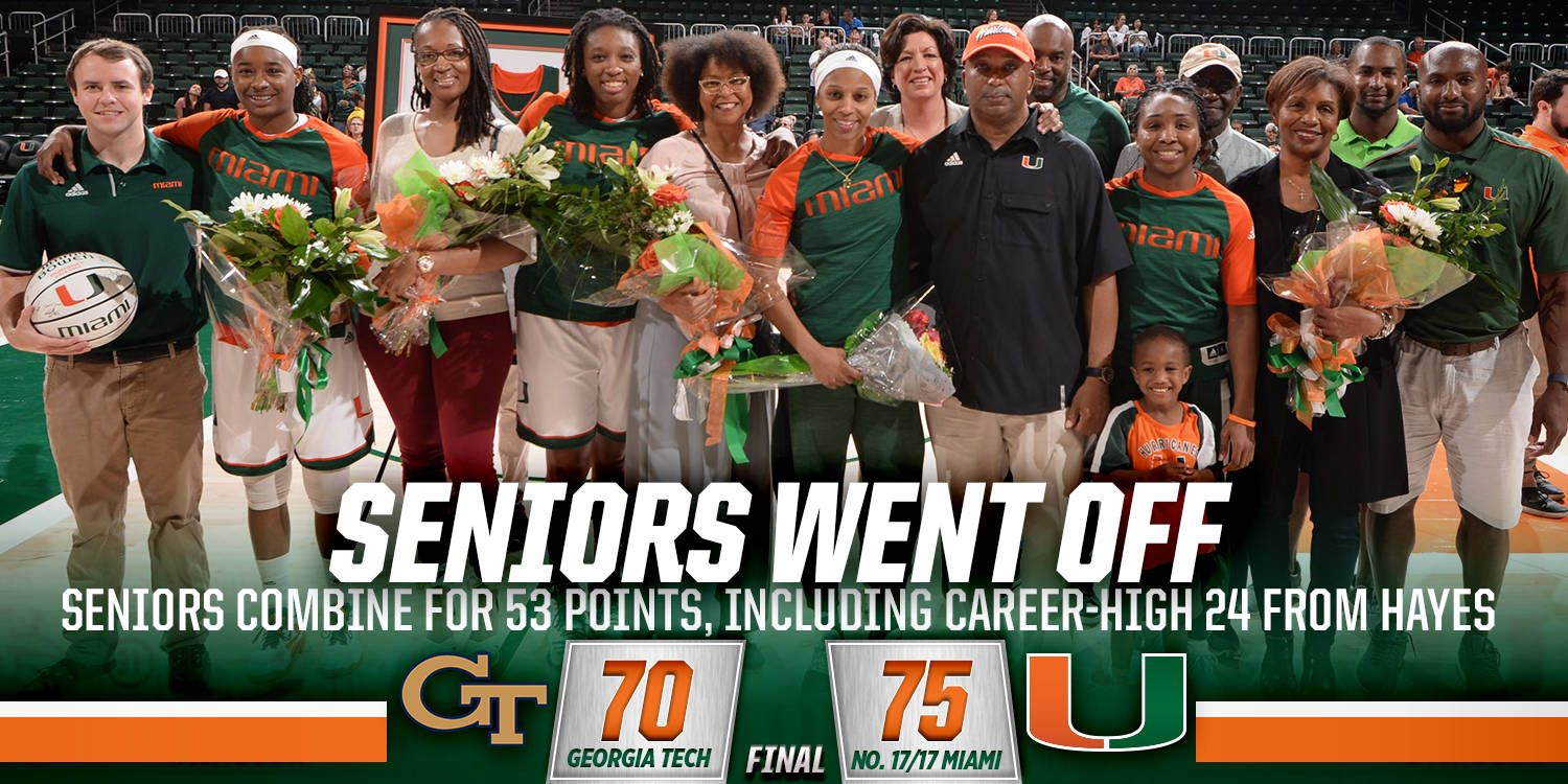 Hayes' 24 Lead @CanesWBB Past GT on Senior Day
