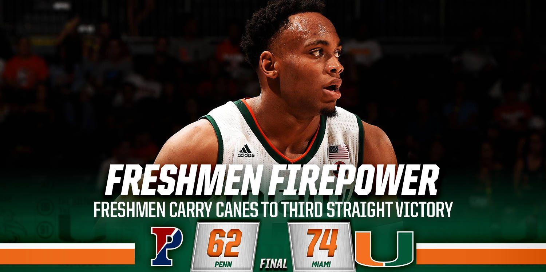 Freshmen Carry Canes to Third Straight Win