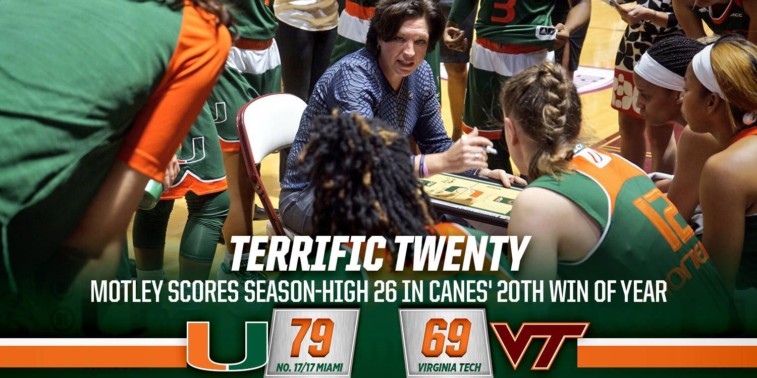 @CanesWBB Tops Hokies, 79-69, to Earn 20th Victory