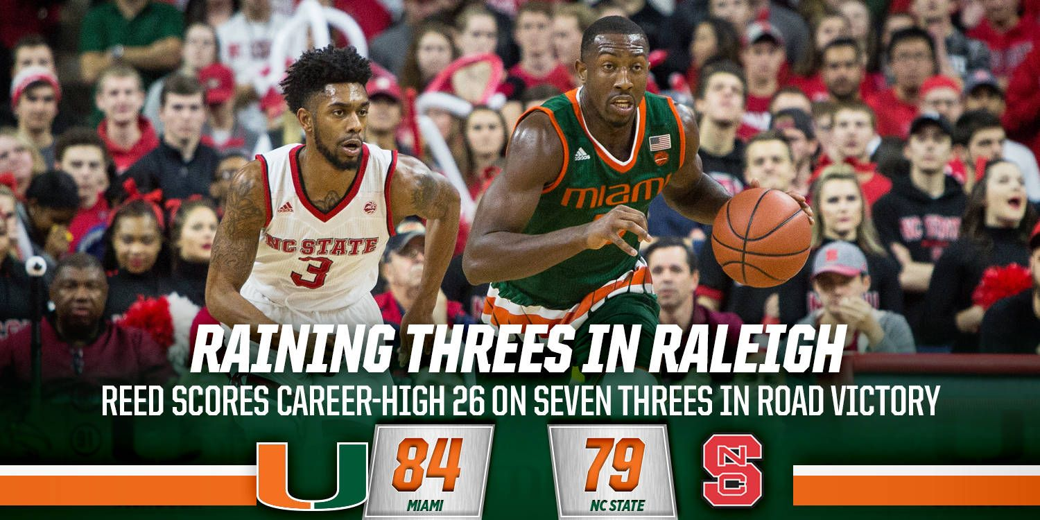 Canes Rain Threes in 84-79 Win Over NC State