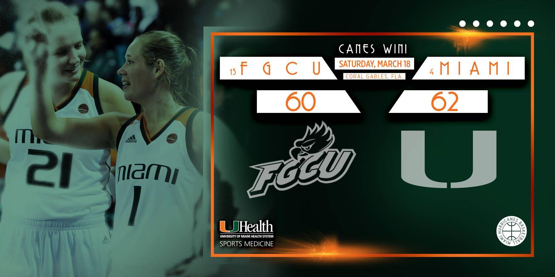 Survive and Advance: @CanesWBB Tops FGCU, 62-60