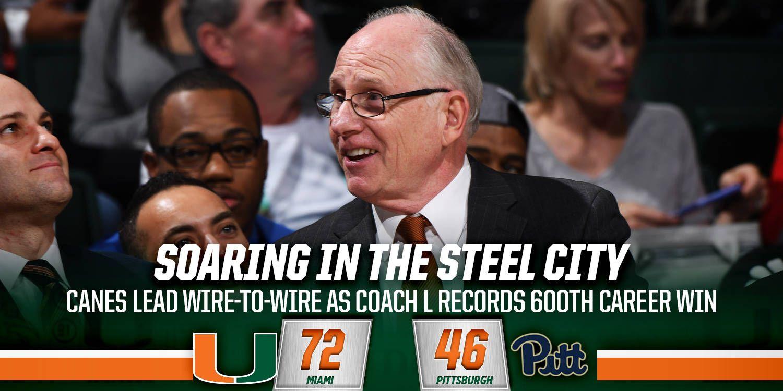 Coach L Records 600th Career Win at Pitt