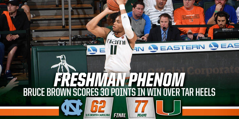 Miami Takes Down No. 9/6 North Carolina 77-62