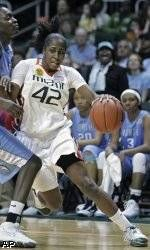 Shenise Johnson Leads Miami to Win Over No. 9 Tar Heels