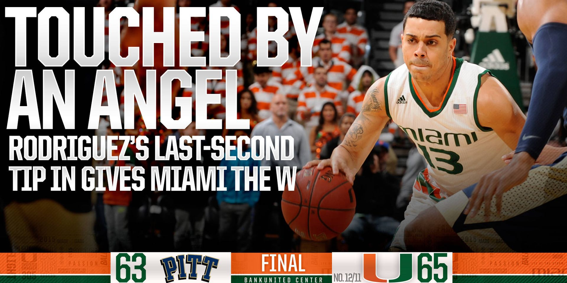 Miami Wins on Rodriguez's Last-Second Tip, 65-63